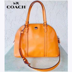 COACH Peyton Orange Leather Satchel Bag